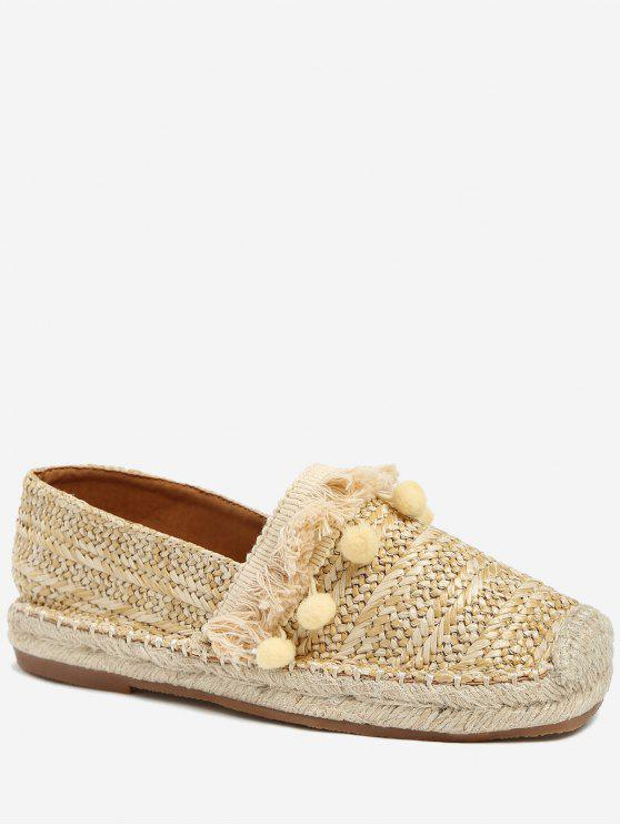 women's Beach Pom Pom Woven Straw Loafer Shoes - APRICOT 40