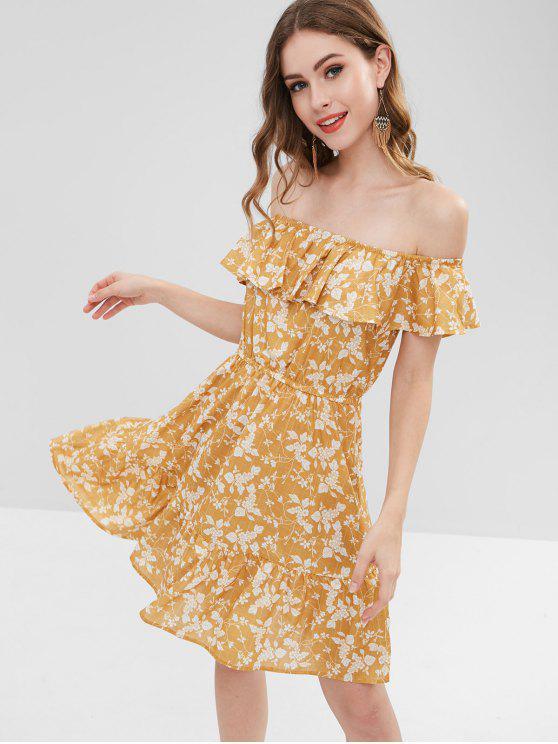 women ZAFUL Ruffles Floral Off Shoulder Dress - GOLDEN BROWN S