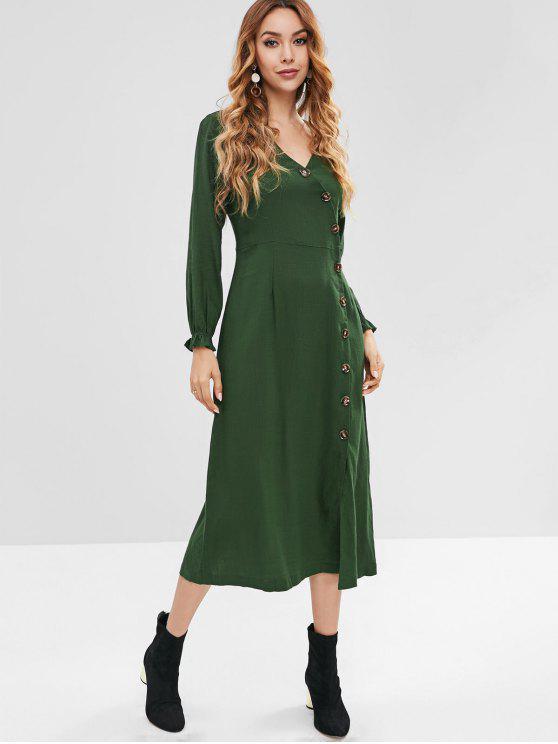 trendy ZAFUL Button Up Casual Midi Dress - DEEP GREEN S