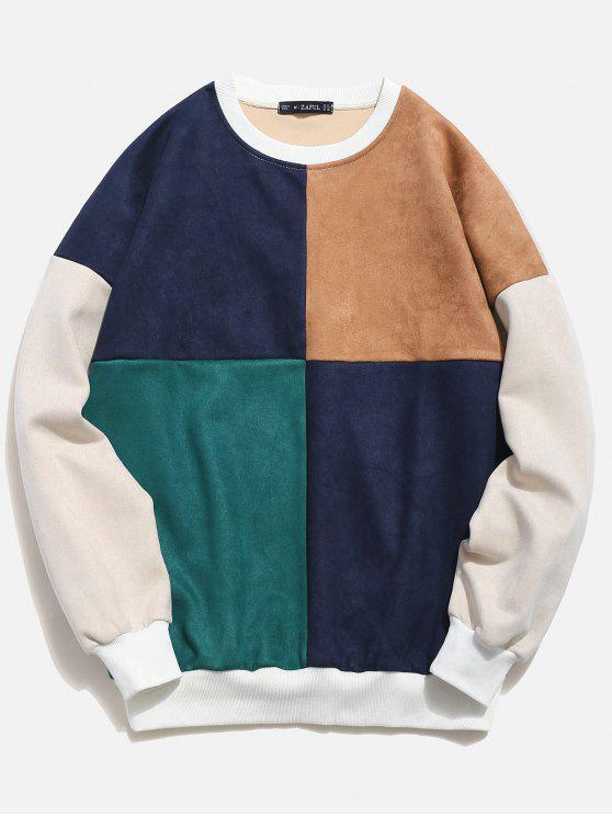 trendy ZAFUL Color Block Suede Sweatshirt - MULTI L
