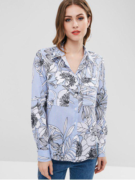 women ZAFUL Striped Floral High Low Shirt - MULTI M