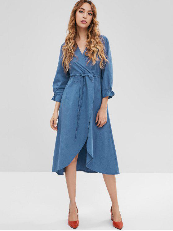 womens ZAFUL Chambray Surplice Front Slit Dress - DENIM DARK BLUE S