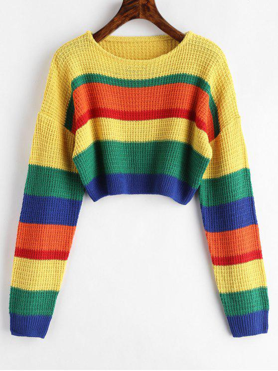 best Colorblock Crop Sweater - MULTI ONE SIZE