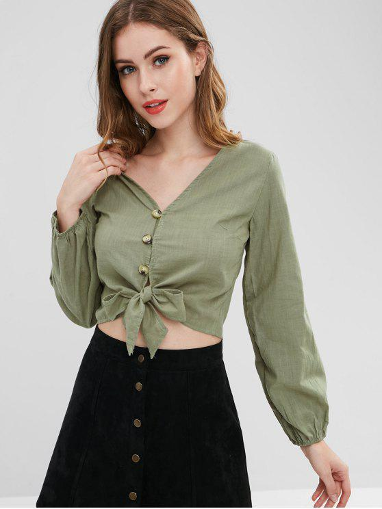 Front Knot Long Sleeve Blouse   Army Green M by Zaful