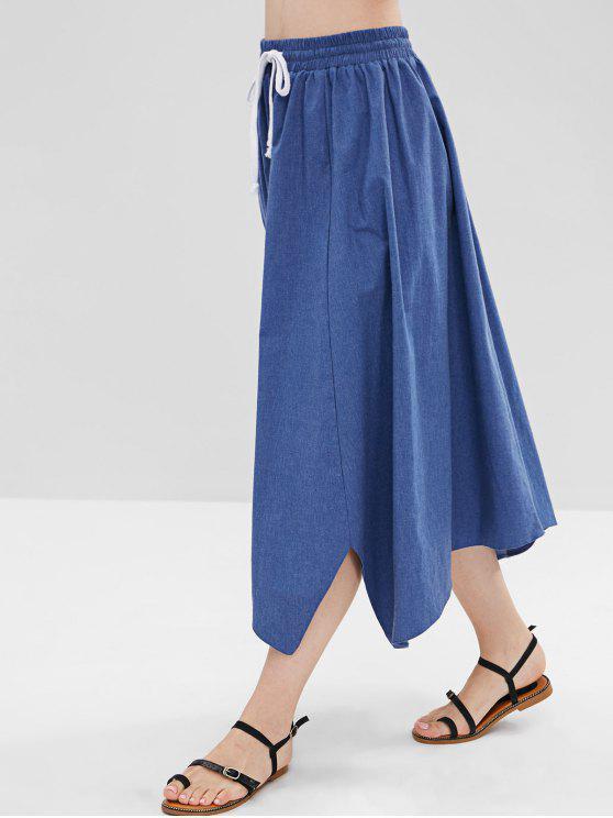 lady Asymmetric Chambray A Line Skirt - BLUE M