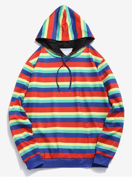 women's ZAFUL Rainbow Striped Print Pocket Hoodie - MULTI S