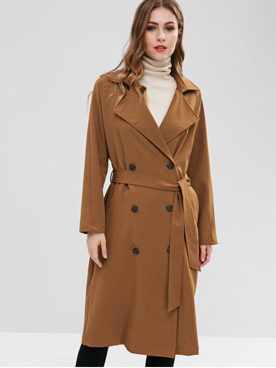 lady ZAFUL Belted Double-breasted Trench Coat - LIGHT BROWN M