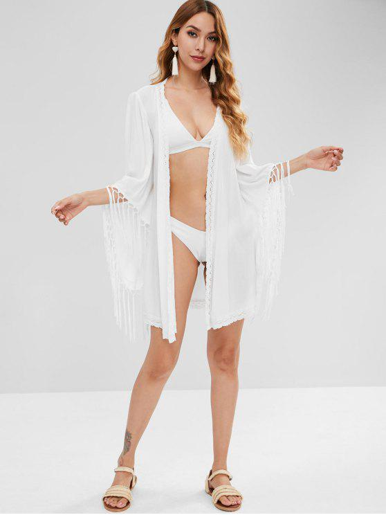 outfit Tassel Wrap Cove Up Dress - WHITE XL