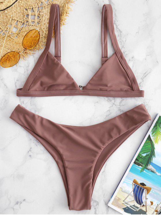 fashion ZAFUL Unlined High Cut Bikini Set - ROSY FINCH S