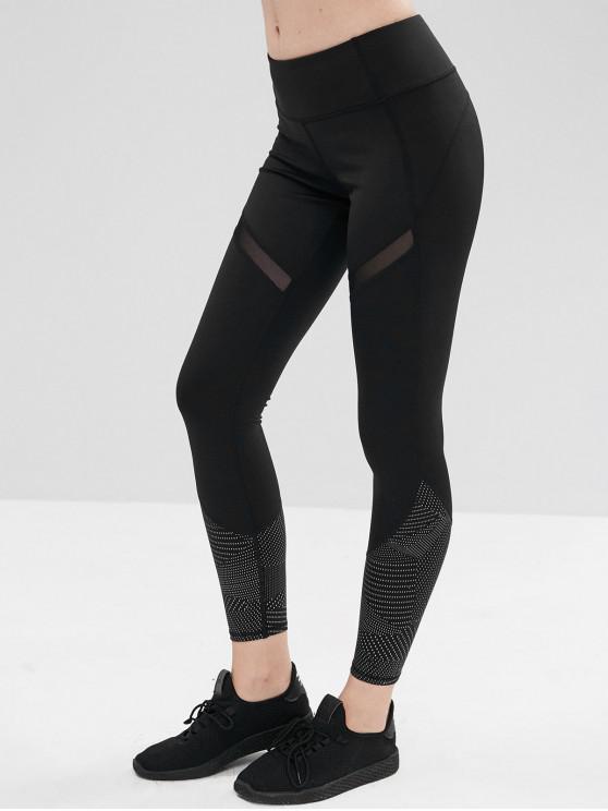 fashion Mesh Insert Geometric Workout Leggings - BLACK S