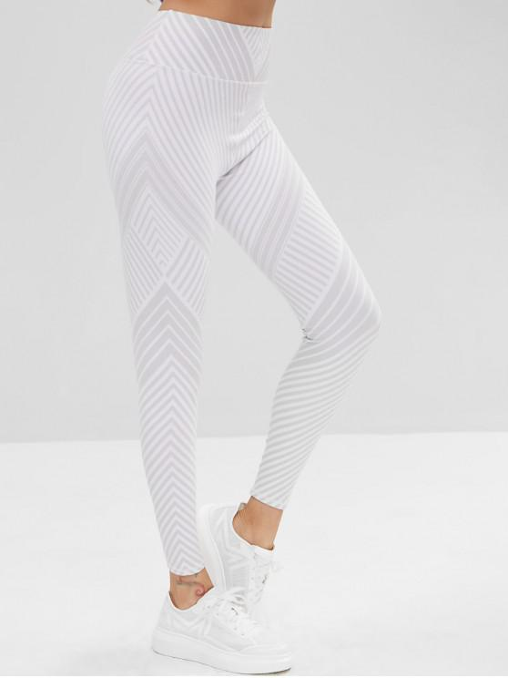 03f5e2f6fbc6b 24% OFF] 2019 High Waisted Striped Workout Leggings In LIGHT GRAY ...