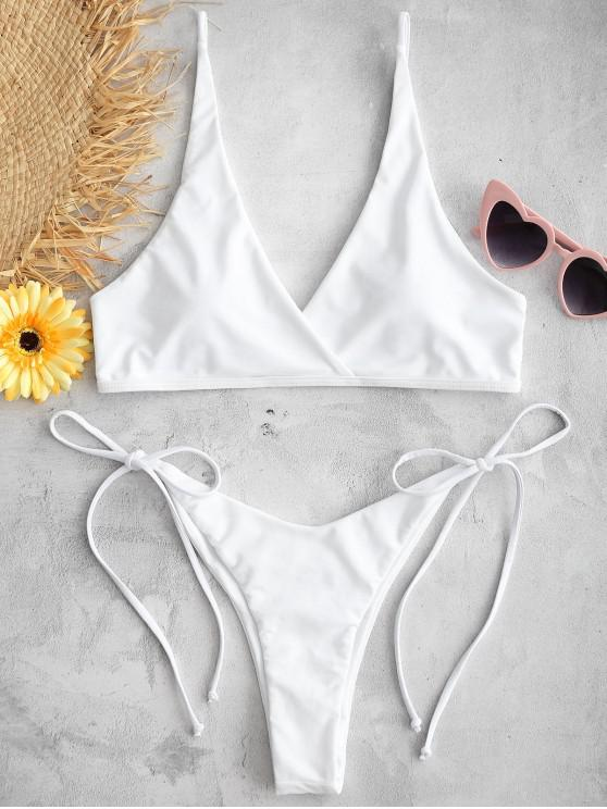 online ZAFUL Surplice High Cut Bikini Set - WHITE L