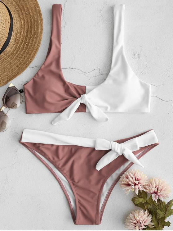 lady ZAFUL Two Tone Tank Bikini Set - ROSY FINCH S