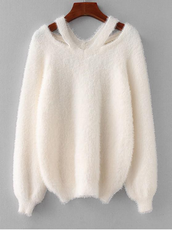 new Fuzzy Cold Shoulder Sweater - WHITE ONE SIZE