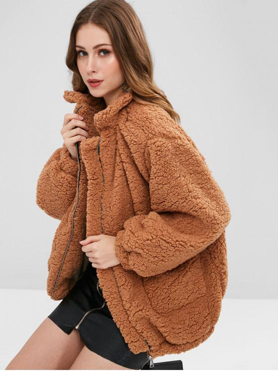 outfit Slip Pockets Faux Fur Teddy Coat - LIGHT BROWN S