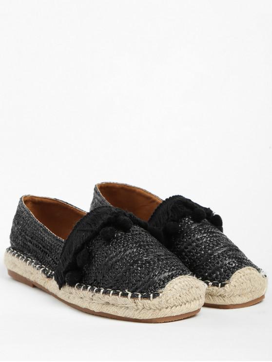 chic Beach Pom Pom Woven Straw Loafer Shoes - BLACK 36