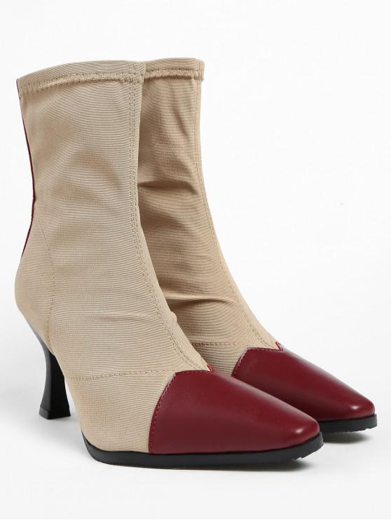 lady ZAFUL Contrasting Pointed Toe Cap Stiletto Heel Short Boots - CHESTNUT RED 39