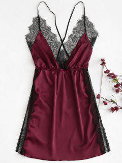 Side Slit Satin Lace Chemise Dress - Red Wine L
