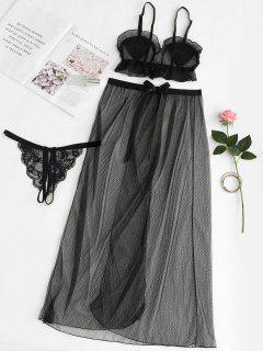 Lace Bra And Panty Mesh Skirt Lingerie Set - Black