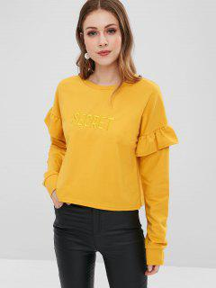 Letter Embroidered Patch Ruffles Sweatshirt - Ginger S
