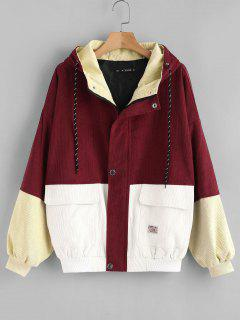 Hooded Color Block Corduroy Jacket - Cherry Red M