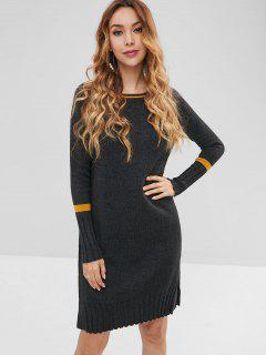 Slit Shift Knee Length Sweater Dress - Dark Gray