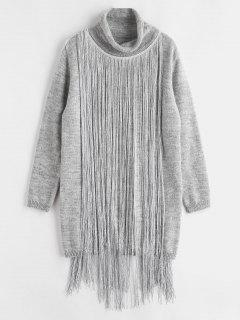 Turtleneck Fringe Sweater Dress - Gray Goose