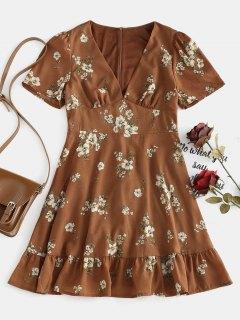 Vestido Floral De Volantes - Marrón S