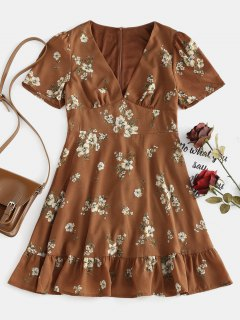 Flounce Floral Dress - Brown S