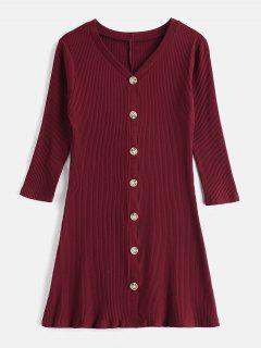Buttoned Ribbed Casual Dress - Red Wine M