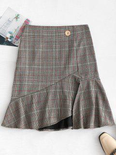 Plaid High Waisted Ruffle Skirt - Gray M