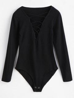 Long Sleeves Lace-up Bodysuit - Black M