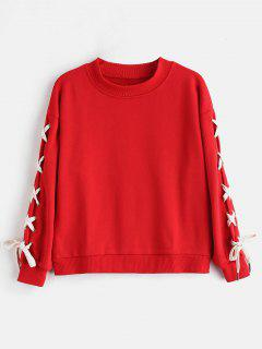 Lace Up Contrasting Sweatshirt - Red S
