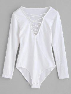 Long Sleeves Lace-up Bodysuit - White M