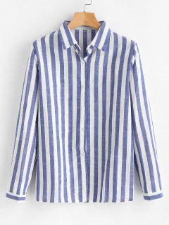 Button Down Striped Shirt - Earth Blue M