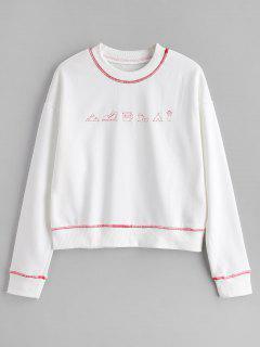Cute Contrasting Graphic Sweatshirt - White L