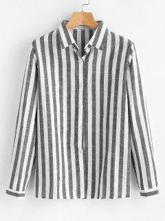 Gestreiftes Hemd Mit Knopfleiste - Grau Xl
