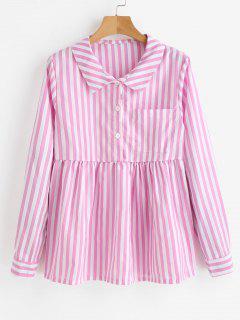 Half Buttoned Stripes Blouse - Pig Pink M
