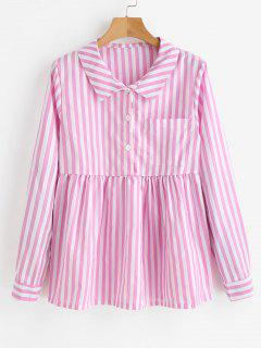Half Buttoned Stripes Blouse - Pig Pink L
