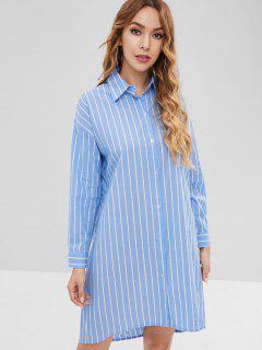 Robe Chemise Droite Rayée Longueur à Genou - Bleu Léger