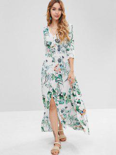Vestido Largo Con Cintura Drapeada Floral - Blanco Xl