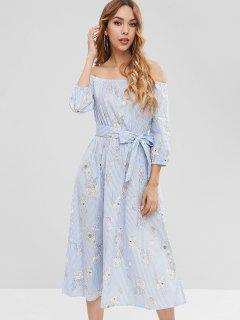 Off The Shoulder Floral Striped Dress - Multi S