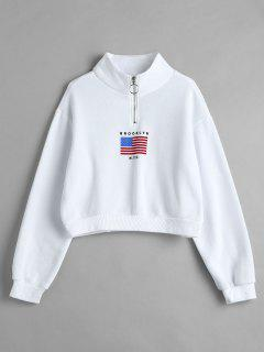American Flag Zip Mock Neck Sweatshirt - White S