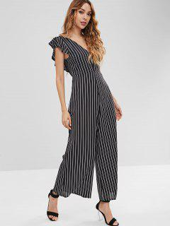Striped Backless Wide Leg Jumpsuit - Black L