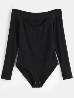 Long Sleeve Off Shoulder Knit Bodysuit - Black L