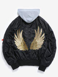 Embroidered Wings Detachable Hat Bomber Jacket - Black 3xl