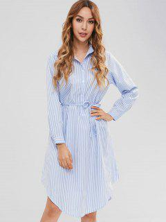 Long Sleeve Vertical Stripe Shirt Dress - Light Blue L