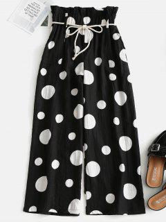 Polka Dot Paperbag Wide Leg Pants - Black