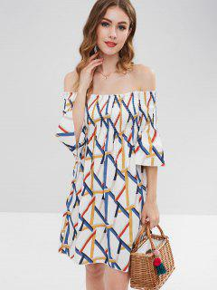Printed Smocked Woven Off The Shoulder Dress - Multi S