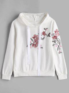 Comfy Floral Embroidered Hoodie - White L